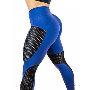 Ocamo Pantalones de compresión para Yoga, Correr, Correr, Yoga, etc, Azul, XL