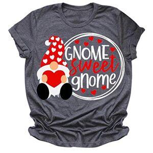 Photno GNOME Sweet Valentine Graphic Playera para Mujer con Cuello Redondo y Manga Corta para Mujer, A-Gris, Asian:XXXL