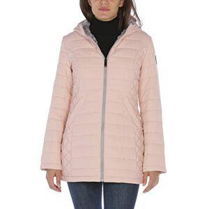 HFX chamarra con forro Sherpa de 3/4 para mujer, Rosado (Dusty Pink), S