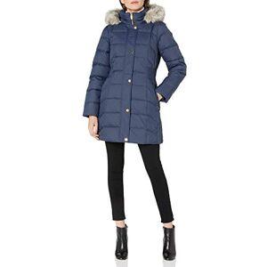 Anne Klein chamarra acolchado con capucha para mujer con detalle de cintura elástica, Marino, L