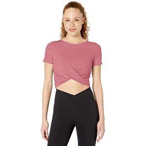 Core 10 Amazon Brand Playera de Yoga para Mujer, Mezcla de algodón Pima, con Nudo Frontal, Color Rubor, tamaño Mediano