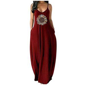 Whear Women Vestido maxi bohemio sin mangas con bolsillos a rayas de leopardo, teñido anudado, mariposa, floral, hawaiano, vestido de espaguetis suelto, Z4-vino, 6