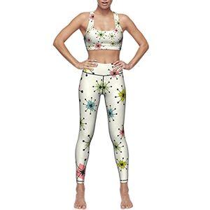 HNyysm Conjunto de leggings de entrenamiento para mujer, 2 piezas, leggings de yoga con sujetador deportivo, estilo vintage, estampado de cámara, Atomic Stars Patrón retro, XL