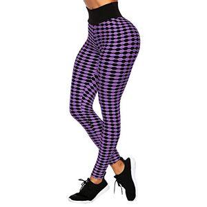 GIJK Leggings de yoga para mujer, diseño de rayas, cintura alta, control de barriga, anticelulitis, pantalones de entrenamiento, correr, gimnasio, Púrpura/Ombre Force., XL