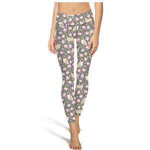 SA/Cool Pantalones de yoga de cintura alta para mujer, diseño de perro Schnauzer con flores y miniatura, color morado, Blanco-856, L