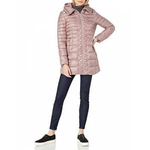 Kenneth Cole New York Puffer ligero con capucha para mujer (3/4 cierre), Dusty Rose, S