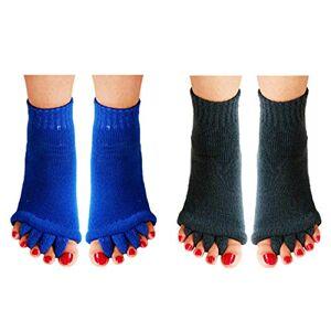 Aibearty 2 pares de calcetines separadores de cinco dedos del pie, alineamiento del pie, dolor y masaje para evitar calambres en los pies, Azul + gris, Talla única