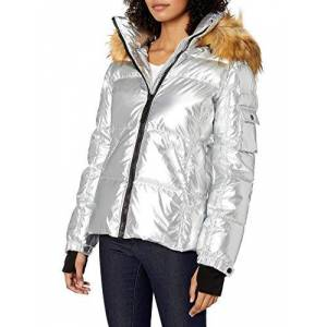 S13 Kylie chamarra de plumón para mujer con capucha de piel sintética, Plateado, L