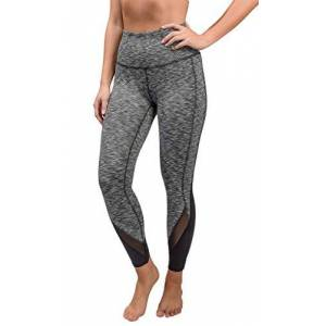 90 Degree By Reflex Pantalones de Yoga para Mujer Power Flex, de Negro (Black Space Dye with Mesh) Extra Grande
