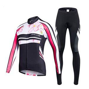 HOTIAN Conjunto de camiseta de ciclismo para mujer de manga larga transpirable 3D Gel acolchado pantalones con cremallera completa protección UV, estilo3, M