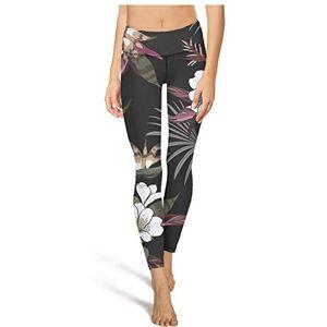 SA/Cool Pantalones de yoga de cintura alta para mujer, diseño floral tropical, con diseño de árboles hawaianos, sin transparencia, con bolsillos, Blanco-807, XL