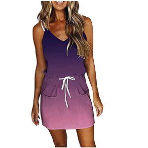TIMIFIS Vestidos de verano para mujer, cuello en V, vestidos de sol, casual, sin mangas, vestido corto con bolsillos, Púrpura/Ombre Force., X-Large