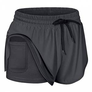 Gobehebe Pantalones cortos de entrenamiento para mujer, yoga, deporte, fitness, cintura elástica, talla grande,  do, XL