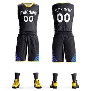 KXK Personalizado Hombres Mujeres Jóvenes Baloncesto Camisetas Atletismo Deportes Pantalones Cortos Personalizados Impresión Nombre y Número, Negro/Blanco-21, US Size:Men-2XL