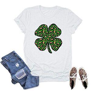 fartey Camisetas para mujer del Día de San Patricio con estampado en forma de O de cuello redondo de manga corta casual tops, Blanco, L