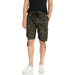 SOUTHPOLE Pantalones Cortos para Hombre con Bolsillos de Carga en Colores sólidos y camuflados (Grandes y Altos), Woodland(New), XXXX-Large