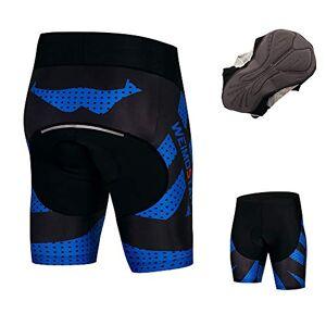 JPOJPO Coolmax 4D Pantalones Cortos de Ciclismo para Hombre (Acolchados, Resistentes a los Golpes, Reflectantes, Talla S-3XL), Azul, Small