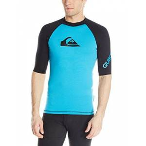 Quiksilver Men's All Time Short Sleeve Surf tee Rashguard, Hawaiian Ocean/Black,X-Large