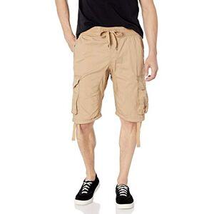 SOUTHPOLE Pantalones Cortos para Hombre con Bolsillos de Carga en Colores sólidos y camuflados (Grandes y Altos), Caqui Intenso, Nuevo, XXXXX-Large