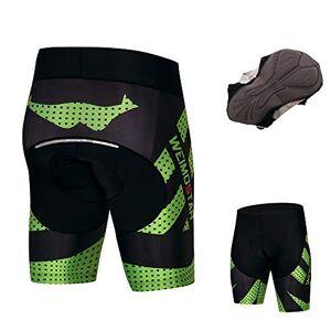 JPOJPO Pantalones Cortos de Ciclismo para Hombre Coolmax 4D Gel Acolchado Ajustado a Prueba de Golpes Reflectante Seguro por la Noche S-3XL, Verde, Small