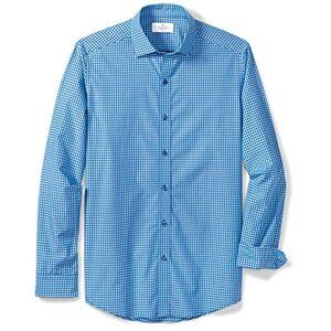 """Buttoned Down Men 's Bajera Spread-Collar Playera de Deporte sin Bolsillo, Azul Marino, Verde Azulado, (Teal/Navy Small Gingham), 15-15.5"""" Neck 34-35"""" Sleeve"""