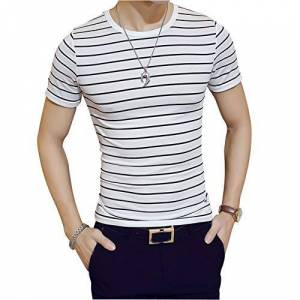 DishyKooker Camiseta de Manga Corta con Cuello Redondo y Estampado de Rayas para Hombre Male Short Sleeve White Stripes L