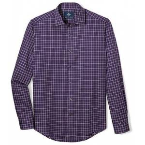 Buttoned Down Buted Down Supima Playera Deportiva de algodón para Hombre, Navy/Red/White Plaid, Small Tall