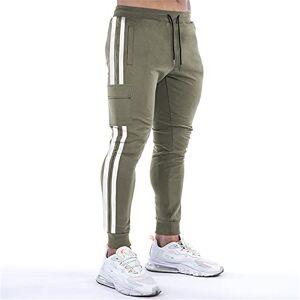 Crazynekos Pantalones deportivos ajustados para hombre con bolsillo, Verde Armada (ArmyGreen), XX-Large