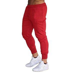 XINHE Pantalones deportivos para hombre, rojo vino, Large (fits like US Medium)