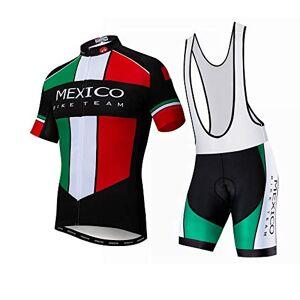 """JPOJPO Maillot de ciclismo para hombres Pro Team Ropa de bicicleta MTB Jerseys Shorts Set, México-2, XL(Ht 69-73"""" Wt 176-220lbs)"""