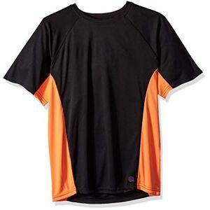 Mr. Swim Color Block UPF 50+ Playera de natación para Hombre, Negro/Anaranjado, Medium