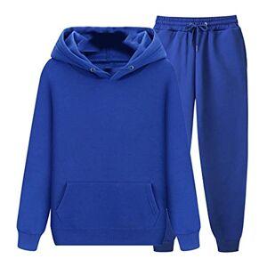 HZB Los hombres Conjuntos de Otoño Invierno Sudadera Pantalones de Chándal Correr Traje Casual Traje, Azul / Patchwork, XX-Large