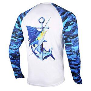 Palmyth Camiseta de pesca para hombre de manga larga con protección solar UV UPF 50+ camisetas con bolsillo, Pez vela/Ancla, Large