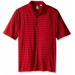 Cutter & Buck Men's Big-Tall CB Drytec Franklin Stripe Polo, Cardinal Red/White, 5X/Big