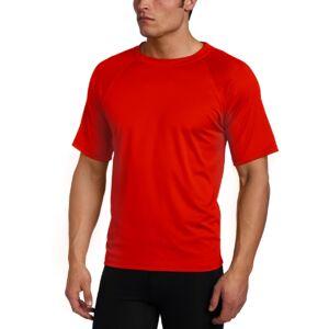 Kanu Surf Men's Solid Rashguard UPF 50+ Swim tee, Red, 2X-Large