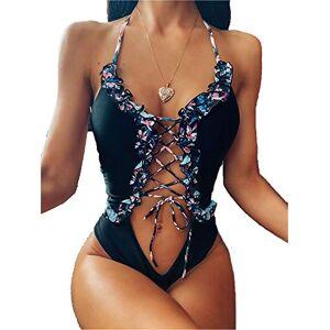 LAJIFENLEI Traje de baño Sexy de una Pieza con Encaje de Monokini Floral con Volantes para Mujer, Traje de baño de Verano Cruzado, Bikini, Negro, M