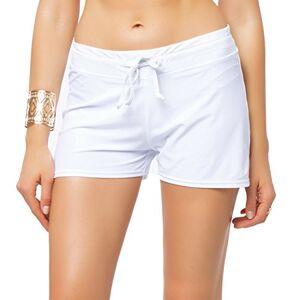 FITTOO Pantalón Corto Shorts clásicas Pantalones Deportivos Mujer Braguitas Bikini Alta Elasticidad Color Sólido Talla Grande Colores Varias Playa 870 Blanco Large