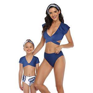 cuteLI Mommy and Me Conjunto de Traje de baño a Juego para la Familia con Chaleco de Cintura Alta para Padres e Hijos, Azul (Blue Print), M