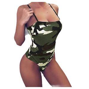 Tralounry Bikini Sexy de una Pieza para Mujer, diseño de Camuflaje, Verde, XXL
