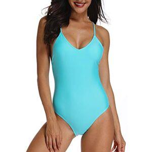 FITTOO Bikini Monokini Mujer Push-up Acolchado Bra Trajes de Baño Brasileño una Pieza Azul Large