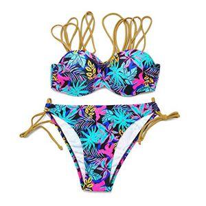 Tralounry Bikini para Mujer con Estampado Floral Sexy y Push up, 3, Small (Fits Like US X-Small)