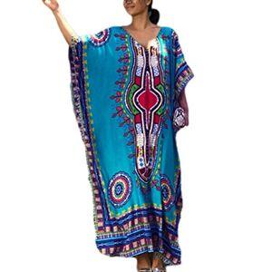 Bsubseach Mujer Túnica de Playa Azul Bohemio Kaftan Vestido Estampado Étnico Cubrir Bikini Camisola y Pareos