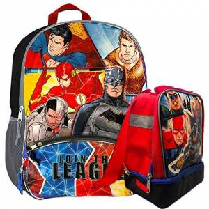 DC Comics Mochila de la Liga de la Justicia con lonchera Mochila de lujo con kit de almuerzo aislado (con Batman, Superman, Linterna Verde, Flash)