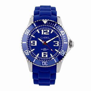VI STAR Mens Cincel 44mm Azul silicona correa Reloj