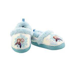 Disney Frozen 2 Elsa Anna Zapatillas de peluche para niñas, Azul / Patchwork, 11-12 Little Kid