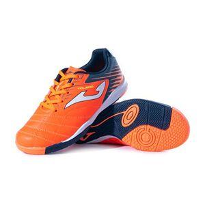 JOMA Kids' Toledo Jr ID Zapatillas de fútbol para interiores, Naranja/Azul marino., 5 Big Kid