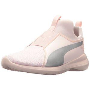 PUMA Girls' Rebel Mid Fashion Knit Sneaker, Pearl Silver, 11 M US Little Kid