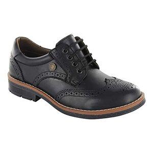 Audaz Zapatos Estilo Bostoniano para Niño Fabricados En Piel Color Negro con Ajuste De Agujeta 22