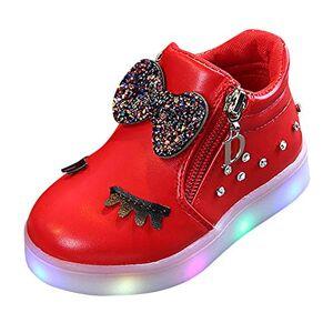 Kariwell Botas para bebé y niña, con Lazo, con Cristales y Luces LED Luminosas, para bebés y niñas, Rojo, 18-24 Months Infant