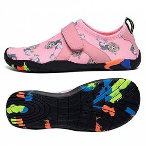 koppu Zapatos de agua para niños y niñas, de secado rápido, calcetines de drenaje, zapatos descalzos para niños pequeños y grandes, Rosa/Rebel Fun., 18 MX Niño pequeño